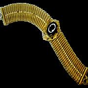 Vintage Wide Glass Cameo Brass Bracelet