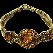 Vintage Bracelet with Amber Glass Paste Stones