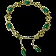Delicate Feminine Bracelet with Green Art Glass Stones, c. Early 1900's