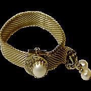 Vintage 1950's Tassel Bracelet with Faux Pearls