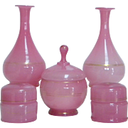 19th Century French Pink Opaline Glass 9 Piece Vanity Set