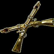 Crown Trifari Crossed Muskat Rifles Sterling Sweetheart Brooch, c. 1940's