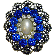 Stunning Large Brilliant Blue Faceted Glass Brooch / Pendant, c. 1950's