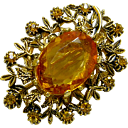 Fancy Vintage Faceted Amber Glass Brooch