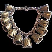 Vintage Brass Flower Bud Charm Bracelet