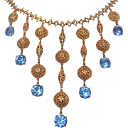 Vintage Gold tone Ball and Blue Glass Bib Necklace