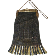 Vintage Whiting and Davis Black and Gold Mesh Evening Purse