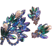 Vintage Rhinestone Blue-Green Simulated Pearl Pin and Earrings Set