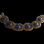 Vintage Czech Blue Glass Gold tone Panel Bracelet
