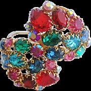 Vintage Fruit Salad Multi Colored Rhinestone Wrap Bracelet