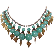 Vintage Peking Glass and Brass Bib Necklace and Earrings