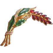Vintage Coro Red Rhinestone and Enamel Floral Spray Pin-Brooch