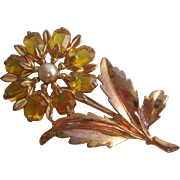 Vintage Open back Yellow Faceted Glass Flower Pin Simulated Pearl-Brooch/Pin