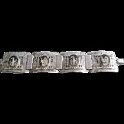 Vintage Chinese Scene Reverse Painted Panel Bracelet