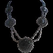 Vintage Victorian Jet Glass Mourning Festoon Swag Necklace