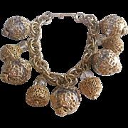 Vintage Gold tone Cased Acrylic Charm Bracelet