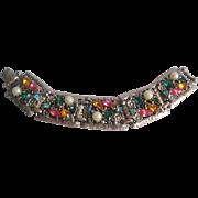 Vintage Multi Colored Rhinestone and Simulated Pearl Panel Bracelet