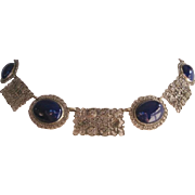 Vintage Edwardian Revival Simulated Sapphire Panel Necklace