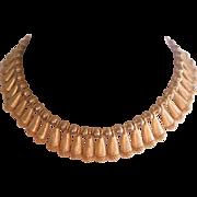 Vintage Gold tone Textured Demi Bib Necklace