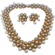 Vintage Classic Flower- Simulated Pearl-Aurora Rhinestone Gold Tone Necklace and Earrings Set