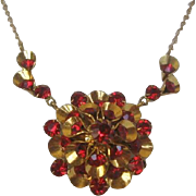 Vintage Gold tone Floral and Red Glass Necklace