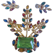 Vintage Early Multi Colored Rhinestone and Faceted Glass Flower Basket and Earrings