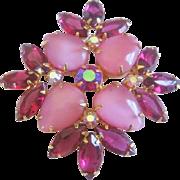Vintage Pink Satin Glass and Raspberry Rhinestone Pin-Brooch