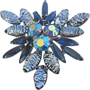 Vintage Blue and Zebra Stripe Art Glass Pin-Brooch