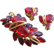 Vintage Red and Purple Rhinestone-Glass Set-Pin Brooch and Earrings