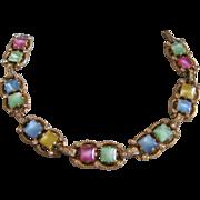Vintage Czech Star Satin Glass Multi Color Pastel Line Bracelet