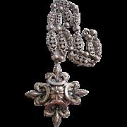 Vintage Silver tone Napier Fleur De Lis Floral Cross Pendant Necklace