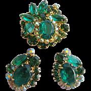 Vintage Juliana Emerald Green Pin and Earrings Set
