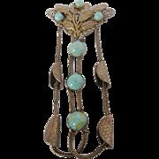 Vintage Large Czech and Art Glass-Art Nouveau Brass Pin Brooch