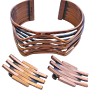 Vintage Mid Century Renoir Copper Cuff Bracelet and Earrings Set
