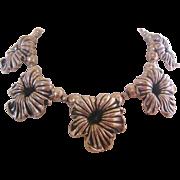 Vintage Silver Tone Cast Metal Floral Bib Necklace