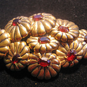 REDUCED Beautiful Brass Floral Red Rhinestone Pin-Brooch