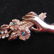 Large Pot Metal Pin of  Hand with Ring holding Flowers Pin-Brooch
