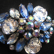 REDUCED Montana Blue and Silver and Black Art Glass Pin-Brooch