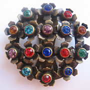 REDUCED Old Multi Colored Brass Dress Clip