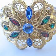 REDUCED Beautiful Czechoslovakian Goldtone Lace and Multi Color Stone Bracelet