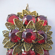 REDUCED Czech Red Glass and Brass Pendant