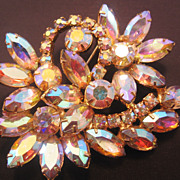 REDUCED Vintage Large Pink-Yellow Aurora Rhinestone Pin-Brooch