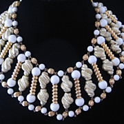 SALE Vintage Egyptian Style Glass/Goldtone and Flocked Beaded  Bib Collar Necklace