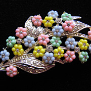 REDUCED Vintage Pastel Floral and Rhinestone Pin Brooch