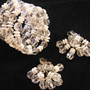 REDUCED Vintage Crystal and Glass Bead Coil Wrap Bracelet and Waterfall Earrings