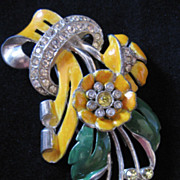 REDUCED Vintage Large Coro Enamel and Rhinestone Floral Fur Clip