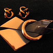 REDUCED Vintage Copper Bow Pin-Brooch and Love Knot Earrings Set