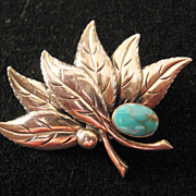 REDUCED Vintage Sterling Leaf and Faux Turquoise Pin-Brooch