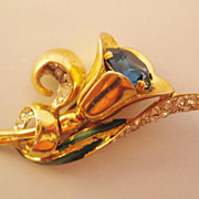 REDUCED Vintage Coro Craft Sterling Tulip Floral Enamel and Rhinestone Fur Clip-