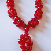 REDUCED Vintage Cherry Red Cut Glass Bead Necklace
